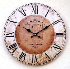 Wanduhr Bahnhofsuhr Küchenuhr Uhr Antikstil Vintage Design modern groß Chateau