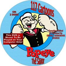 POPEYE - 117 CARTOONS - ON 2 DISKs - COMEDY, HUMOR - OLIVE OYL, BLUTO, SWEET PEA