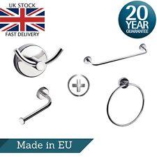 Bath Accessories Set Bundle w/ Towel Rail, Ring, Toilet Paper Holder & Robe Hook