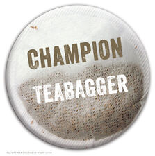 """Brainbox Candy """"Champion Teabagger"""" badge funny hen stag party gift joke rude"""
