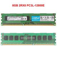 For Micron 8GB 2RX8 PC3L-12800E DDR3L-1600MHz ECC Unbuffered DIMM Memory RAM