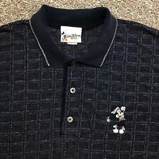 Vintage Walt Disney World Black Mickey Mouse Golfing Polo Shirt Mens 2xl