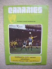 Norwich City v Arsenal Football Programme 1975/1976