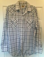 Ely Cattleman Men's White/Blue Plaid Pearl Snap Lightweight Western Shirt Sz L