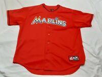 Majestic Florida Miami Marlins MLB Baseball Orange Sewn Jersey Men's XXL 2XL