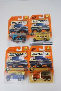 """Lot Of 4 Matchbox """"Big Movers"""" Cement #8 Utility #9 Bus #12 Mobile Crane #15"""