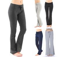 Women's Drawstring Lounge Pants Wide Flare Straight Leg Casual Cotton Knit PJ