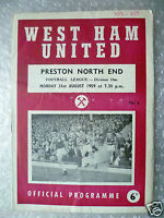 1959 WEST HAM UNITED v PRESTON NORTH END, 31 Aug (League Division One Programme)