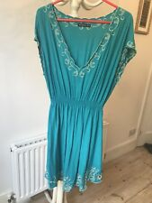 Atmosphere Turquoise Tunic With Embroidered Gold Trim Size 18