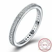 925 Sterling Silver Ring, Boruo Cubic Zirconia CZ Wedding Band Ring Size