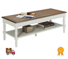 Barn Coffee Table Farmhouse Solid Oak and White Tone Rustic Look Living Room