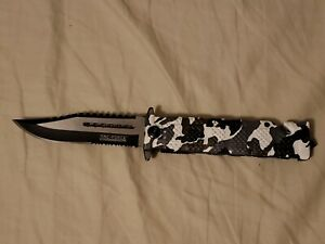Tac-Force Black/White/Gray Camo Tactical-Rescue-Outdoor Hunting Pocket Knife