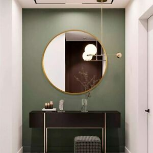 "Circle Wall Mounted Mirror 16"" Round Entryways Washrooms Home Decor Metal Frame"