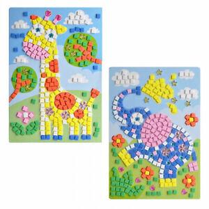 2 Mosaikbilder Giraffe + Elefant Mädchen Kreativset Bastelset Klebebilder