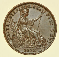 More details for 1822 george iv farthing, leaf ribs incuse, british coin unc/au