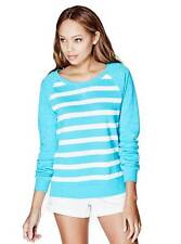 NWT Women Pullover Sweater Light GUESS AUBRIE STRIPED - blue XS