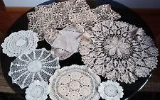 10 pc Gorgeous Fine Cotton Crocheted Doilies BEIGE & WHITE Filet Work Square