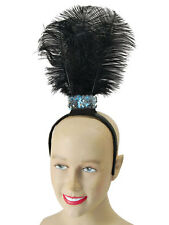 Feather Hairband Flapper Sequin Charleston Burlesque Headband Fancy Dress Black