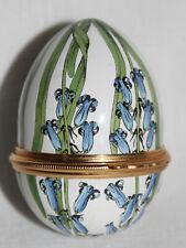 Unusual Egg Form Halcyon Days Enamels Porcelain Floral Hinged Trinket Box