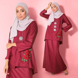 Women Muslimah LongSleeve RedVelvet Baju Kurung Embroidery Flower PlusSize Dress