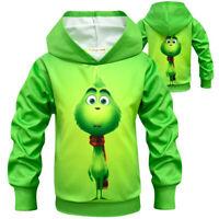 Kids Boys Girls Grinch Hooded Hoodies Sweatshirt Long Sleeve Pullover Jumper Top