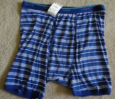 Hanes Men's XL Blue Stripe Boxer Brief NWT Made In Vietnam Cotton/Polyester