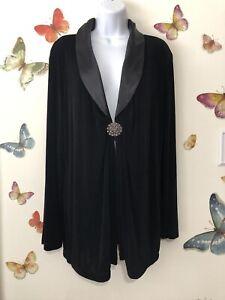 CHICO'S Travelers Black Long Sleeve Tuxedo Brooch Embellished Jacket Sz 2 /Large