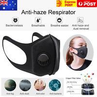 Anti Air Pollution Face Mask Respirator P2 Washable Adjustable Black Masks AU