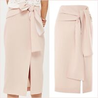 SALE Topshop Nude Pink Pencil Slit Midi Skirt Size 12 US 8 Blogger ❤ RRP £54.99