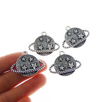 10pcs Alloy Vintage Silver Star Planets Jewelry Pendants Charms Crafts 53358