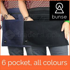 Bunse 6 Pocket Market Trader Money Bag Cash Belt Pocket Pouch Black Navy