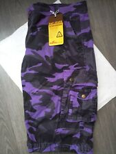 SHORT CARGO HOMME NEUF CAMOUFLAGE VIOLET ET NOIR Taille 46