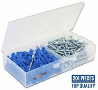 Ribbed Plastic Drywall Anchor Kit with Screws and Masonry Drill Bit, #10-12 x 1""