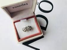 Pandora Silver Sparkling Love Heart Stud Earrings (ALE S925)