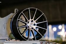 """18"""" ALLOY WHEELS 5X112 STAGGERED CONCAVE MULTI SPOKE BLACK POLISHED AYR 02 BP"""