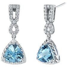 4.38 ct Swiss Blue Topaz and Lab Grown Diamond Drop Earrings in 14K White Gold