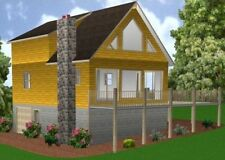 24x34 Cabin w/Full Basement Plans Package, Blueprints, Material List