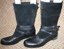 No 704b Black Leather Suede Buckle Jessica Boots 36