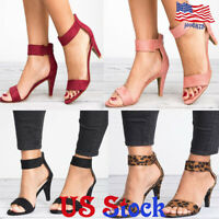 Womens Ladies Peep Toe kitten Heels Ankle Strap Zip Sandals Casual Shoes Summer