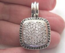 David Yurman 14mm Black and Whte ALL Diamond Albion Pendant Enhancer Sterling