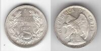 CHILE - RARE SILVER 10 CENTAVOS UNC COIN 1896 YEAR KM#156.1