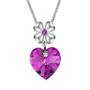 Women's Silver Heart Charm Violet Crystal Cubic Zirconia Pendant Necklace New