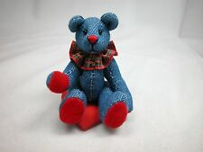 "World of Miniature Bears 3"" Demin Bear Roger #1056 Collectible Miniature Bear"