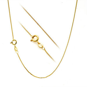 """18K Gold over Silver .7mm Box Chain Necklace for Pendants -- All Sizes 14"""" - 30"""""""