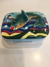 Vintage 1960s Sardine Dish, Covered, Articulated Fish, Japan, Colorful