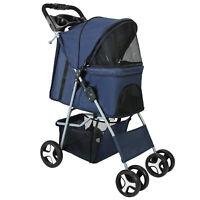 Pet Stroller Large Dog Cat Puppy 3/4 Wheel Folding Jogger Walk Easy Carrier Cart
