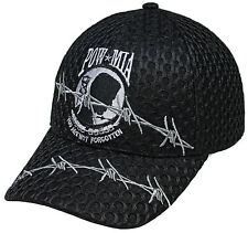 Adult POW*MIA With Barbed Wire Adjustable Black Mesh Curved Bill Hat Cap