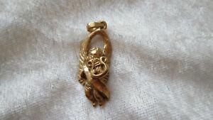 Ancien pendentif en Argent massif et or ange angelot Putti jouant de la Harpe