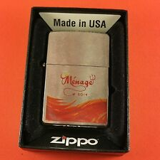 """Zippo Lighter """" Ménage 2014 """" Full Size New In Box With Paper Bradford PA. USA."""
