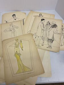 Art Deco Fashion Illustrations 1920s Originals Lot Of 25 Womens Fashion